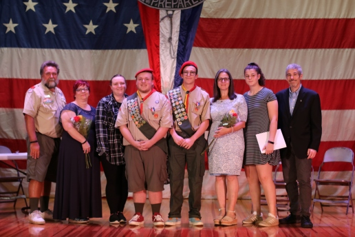The new Eagle Scouts and their families